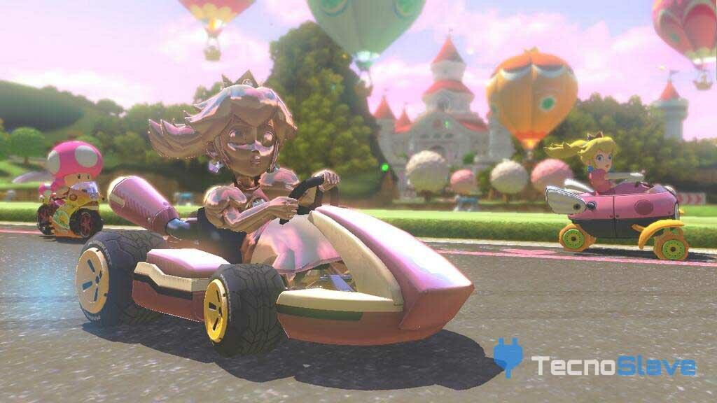 Mario kart 8- peach de oro rosa
